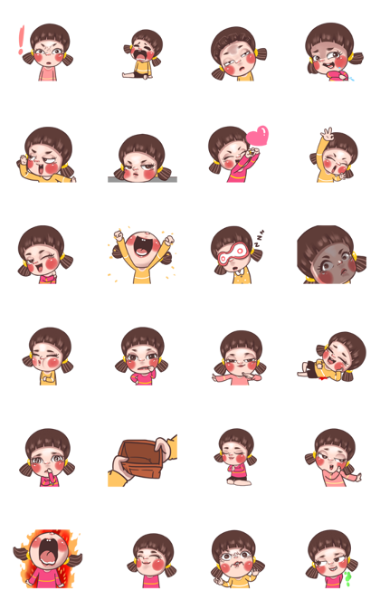 Juno: Young Girl 6 Line Sticker GIF & PNG Pack: Animated & Transparent No Background | WhatsApp Sticker
