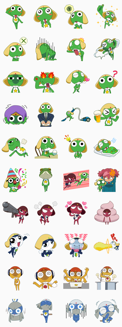 KERORO GUNSO Line Sticker GIF & PNG Pack: Animated & Transparent No Background | WhatsApp Sticker