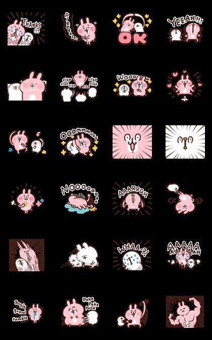 Kanahei's Piske & Usagi Keep It Movin' Line Sticker GIF & PNG Pack: Animated & Transparent No Background | WhatsApp Sticker
