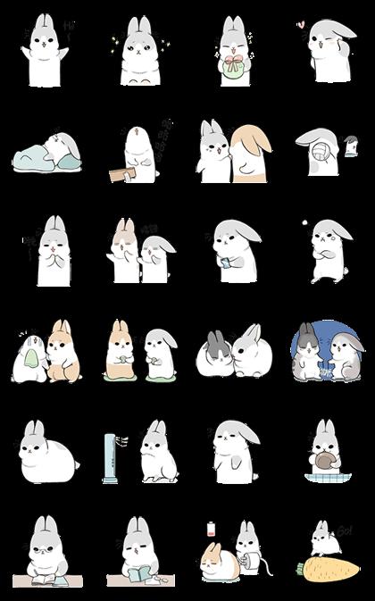 Kawaii Machiko Rabbit Line Sticker GIF & PNG Pack: Animated & Transparent No Background | WhatsApp Sticker