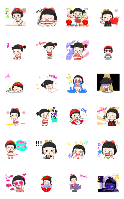 Khing Khing Strawberry Line Sticker GIF & PNG Pack: Animated & Transparent No Background | WhatsApp Sticker