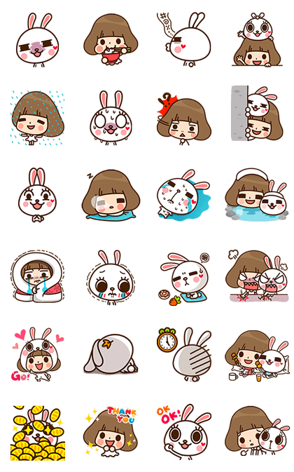 Kinoko & Labito's Jiggle Wiggle Party Line Sticker GIF & PNG Pack: Animated & Transparent No Background | WhatsApp Sticker