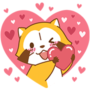 LOVE ☆ RASCAL and Friends Sticker for LINE & WhatsApp | ZIP: GIF & PNG
