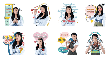 Maudy Ayunda: Let's Move On Line Sticker GIF & PNG Pack: Animated & Transparent No Background | WhatsApp Sticker