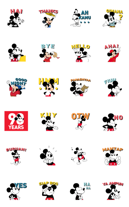 Mickey Mouse 90th Anniversary Line Sticker GIF & PNG Pack: Animated & Transparent No Background | WhatsApp Sticker