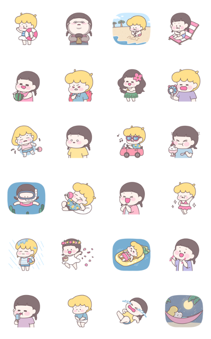 Mimi & Sabi's Summer Story Line Sticker GIF & PNG Pack: Animated & Transparent No Background | WhatsApp Sticker