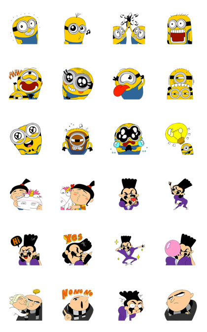 Minions × Momo Wang Animated Stickers Line Sticker GIF & PNG Pack: Animated & Transparent No Background | WhatsApp Sticker