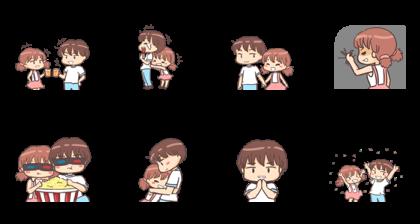 Momo & Taro Line Sticker GIF & PNG Pack: Animated & Transparent No Background | WhatsApp Sticker