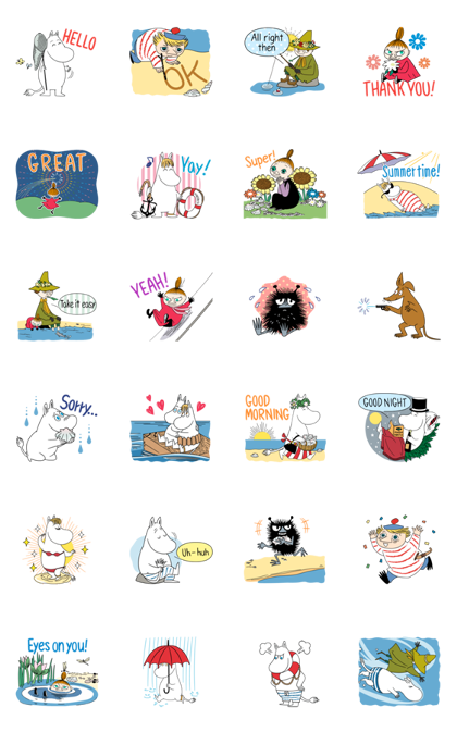 Moomin: Animated Summer Stickers Line Sticker GIF & PNG Pack: Animated & Transparent No Background | WhatsApp Sticker
