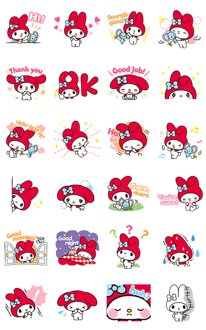 My Melody: Eyes On Me! Line Sticker GIF & PNG Pack: Animated & Transparent No Background | WhatsApp Sticker