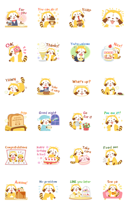 Rascal's Tea Time Stickers Line Sticker GIF & PNG Pack: Animated & Transparent No Background | WhatsApp Sticker