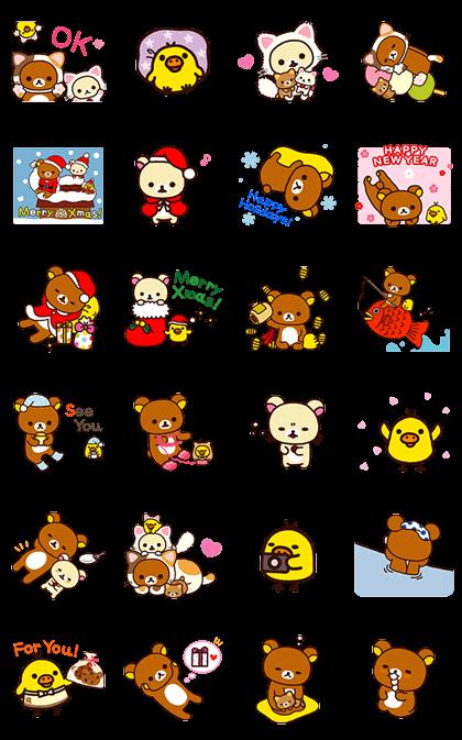 Rilakkuma: Cozy Winter Days Line Sticker GIF & PNG Pack: Animated & Transparent No Background | WhatsApp Sticker