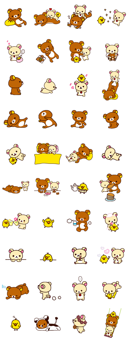 Rilakkuma: Good Friends Line Sticker GIF & PNG Pack: Animated & Transparent No Background | WhatsApp Sticker