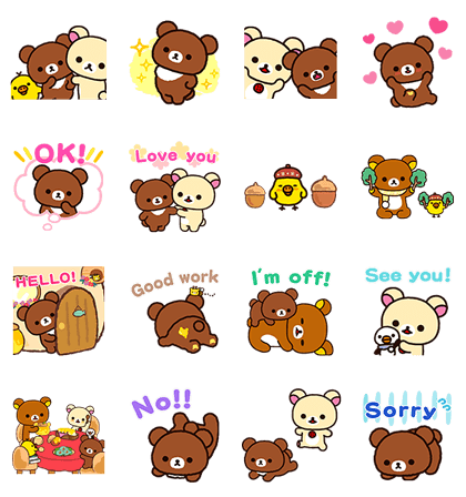 Rilakkuma: Pop-Up Chairoikoguma Line Sticker GIF & PNG Pack: Animated & Transparent No Background | WhatsApp Sticker