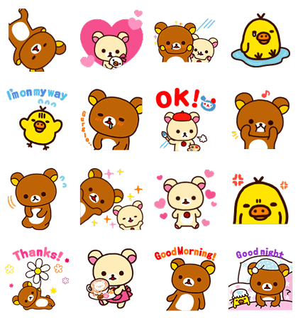 Rilakkuma Pop-Up Stickers Line Sticker GIF & PNG Pack: Animated & Transparent No Background | WhatsApp Sticker
