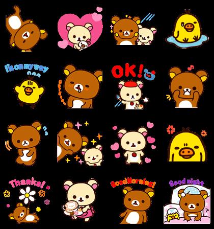 Rilakkuma Pop-Up Stickers Line Sticker GIF & PNG Pack: Animated & Transparent No Background | WhatsApp Sticker