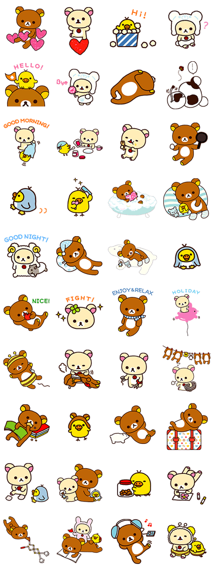 Rilakkuma: Relaxing Days Line Sticker GIF & PNG Pack: Animated & Transparent No Background | WhatsApp Sticker