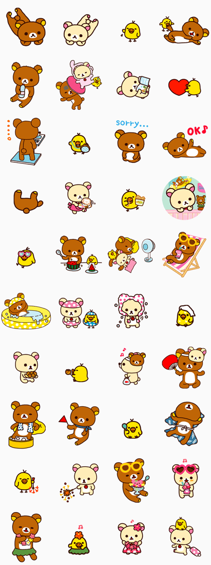 Rilakkuma Summer Line Sticker GIF & PNG Pack: Animated & Transparent No Background | WhatsApp Sticker
