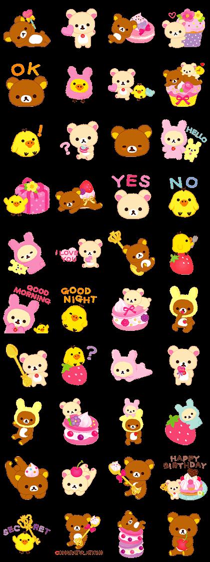 Rilakkuma Sweets Line Sticker GIF & PNG Pack: Animated & Transparent No Background | WhatsApp Sticker