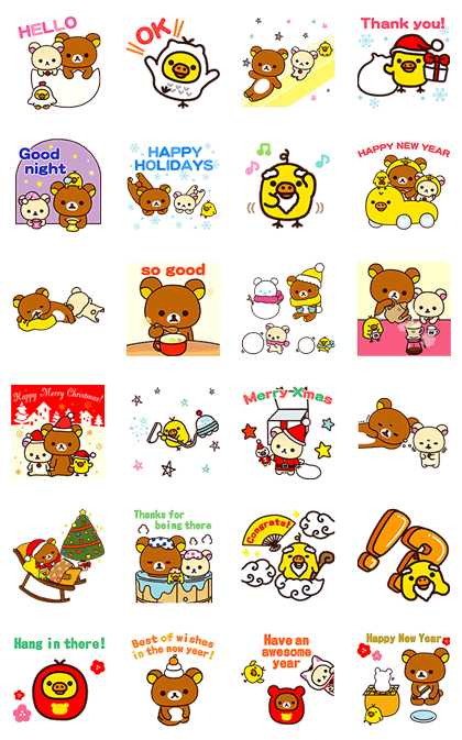 Rilakkuma Winter Holiday Pop-Ups Line Sticker GIF & PNG Pack: Animated & Transparent No Background | WhatsApp Sticker