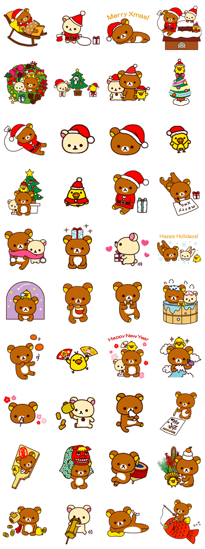 Rilakkuma Xmas & Holiday Line Sticker GIF & PNG Pack: Animated & Transparent No Background | WhatsApp Sticker