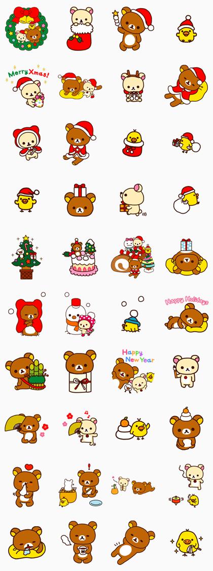 Rilakkuma's Xmas & New Year Line Sticker GIF & PNG Pack: Animated & Transparent No Background | WhatsApp Sticker
