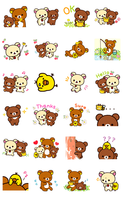 Rilakkuma ~Korilakkuma with a new friend~ Line Sticker GIF & PNG Pack: Animated & Transparent No Background | WhatsApp Sticker