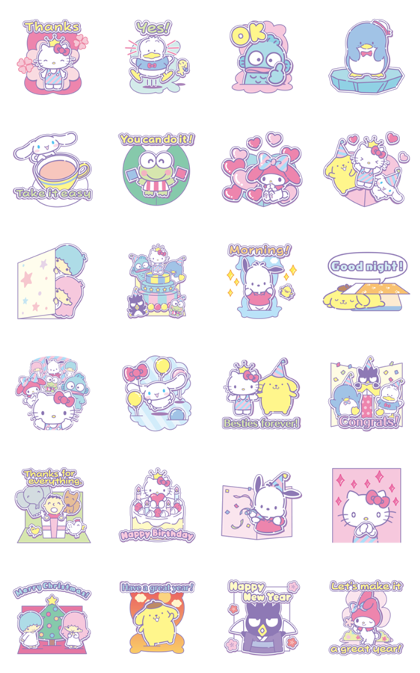 SANRIO CHARACTERS (Greetings) Line Sticker GIF & PNG Pack: Animated & Transparent No Background | WhatsApp Sticker