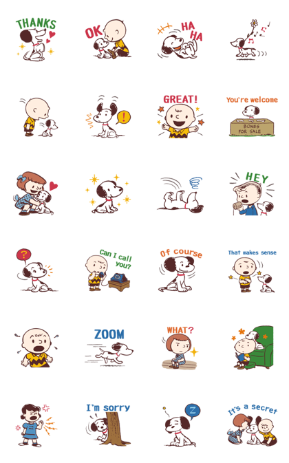 Snoopy (50's) Line Sticker GIF & PNG Pack: Animated & Transparent No Background | WhatsApp Sticker