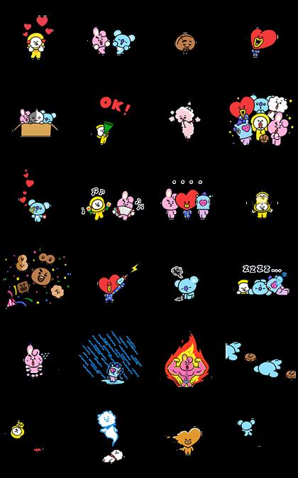 UNIVERSTAR BT21: Pint-Sized Cuteness Line Sticker GIF & PNG Pack: Animated & Transparent No Background | WhatsApp Sticker