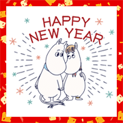 Animated Moomin New Year's Gift Stickers Sticker for LINE & WhatsApp | ZIP: GIF & PNG