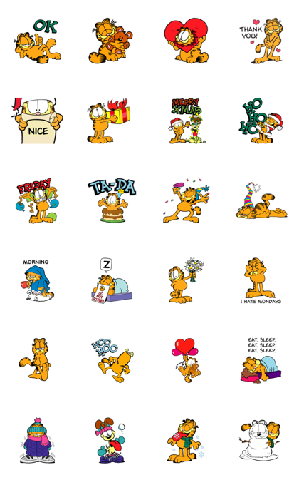 Garfield's Winter Wonderland Line Sticker GIF & PNG Pack: Animated & Transparent No Background | WhatsApp Sticker