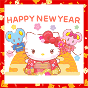 Hello Kitty's New Year's Gift Stickers Sticker for LINE & WhatsApp | ZIP: GIF & PNG