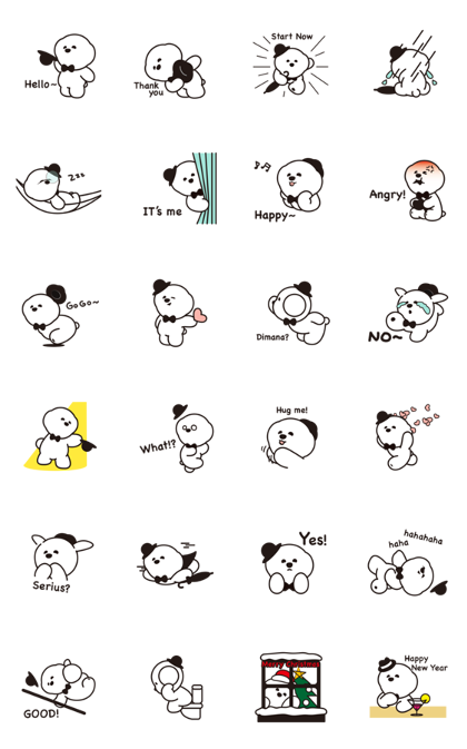 Hello! Zentle Pangah Line Sticker GIF & PNG Pack: Animated & Transparent No Background | WhatsApp Sticker
