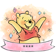 Pooh Custom Stickers (Watercolors) Sticker for LINE & WhatsApp | ZIP: GIF & PNG