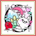 Rabbit&Dog 100% New Year's Gift Stickers Sticker for LINE & WhatsApp | ZIP: GIF & PNG