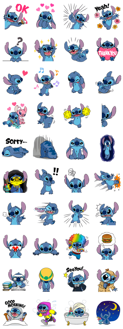 Stitch Returns Line Sticker GIF & PNG Pack: Animated & Transparent No Background | WhatsApp Sticker