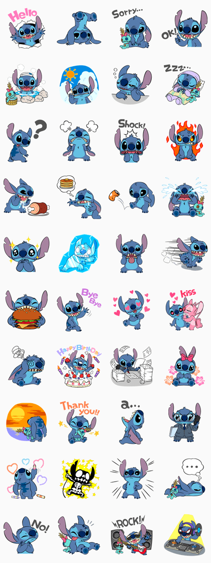 Stitch Line Sticker GIF & PNG Pack: Animated & Transparent No Background | WhatsApp Sticker