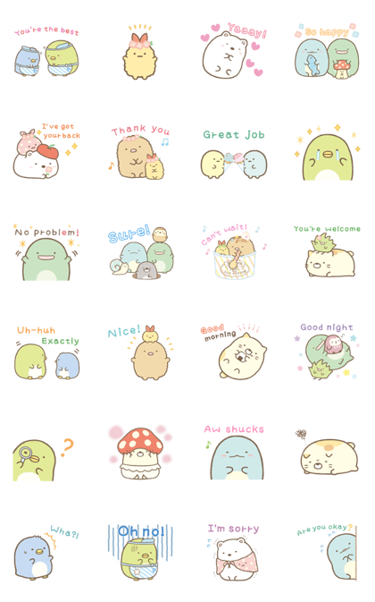 Sumikko Gurashi: Relaxed and Polite Line Sticker GIF & PNG Pack: Animated & Transparent No Background | WhatsApp Sticker