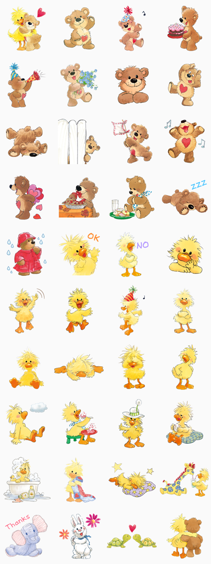 Suzy's Zoo Line Sticker GIF & PNG Pack: Animated & Transparent No Background | WhatsApp Sticker