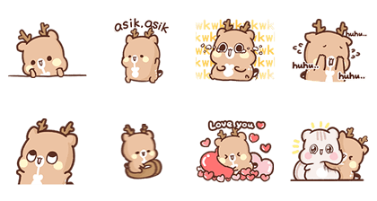 SweetHouse Happy Deer Line Sticker GIF & PNG Pack: Animated & Transparent No Background | WhatsApp Sticker