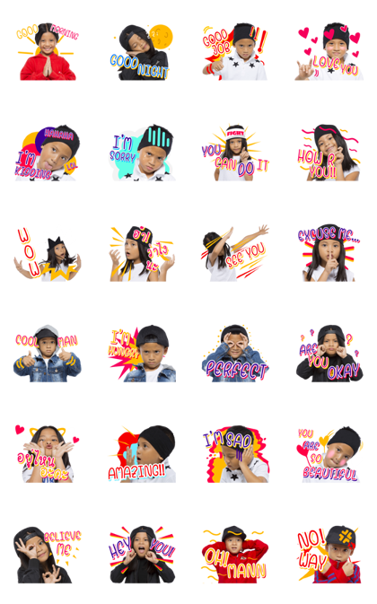 Twin Cool Kids Line Sticker GIF & PNG Pack: Animated & Transparent No Background | WhatsApp Sticker