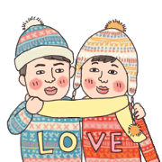 Winter Sweethearts Xmas Stickers Sticker for LINE & WhatsApp | ZIP: GIF & PNG