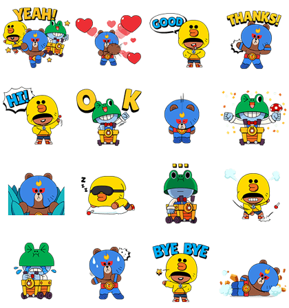 BRAWL STARS × LINE FRIENDS Line Sticker GIF & PNG Pack: Animated & Transparent No Background | WhatsApp Sticker