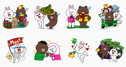 Brown & Cony: Hari Raya Aidil Fitri Special Line Sticker GIF & PNG Pack: Animated & Transparent No Background | WhatsApp Sticker