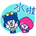 Colorful Night × momo co Sticker for LINE & WhatsApp | ZIP: GIF & PNG