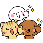 DOG'S HEART CAT'S HEART × shiro Sticker for LINE & WhatsApp | ZIP: GIF & PNG
