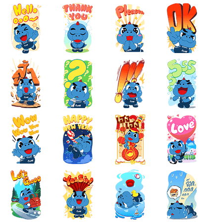 Godji is All Around Line Sticker GIF & PNG Pack: Animated & Transparent No Background | WhatsApp Sticker