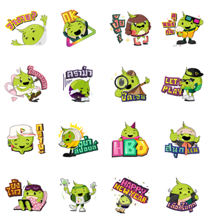 Let's PLAY with Aunjai Line Sticker GIF & PNG Pack: Animated & Transparent No Background   WhatsApp Sticker