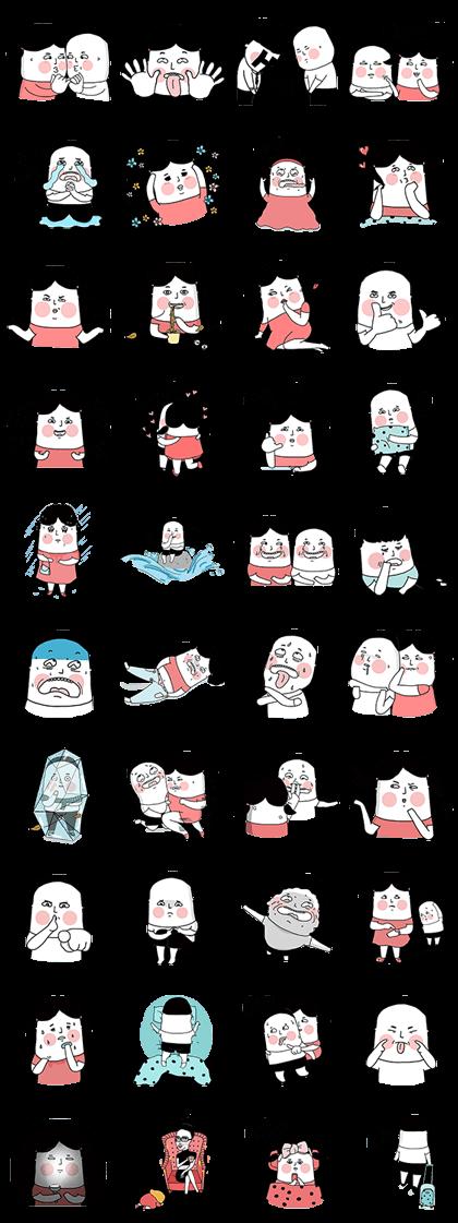 Lu's (Cartoon Life) Line Sticker GIF & PNG Pack: Animated & Transparent No Background | WhatsApp Sticker